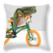 Frog On A Bicycle Throw Pillow