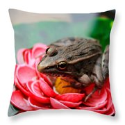 Frog On Lily Pad Two Throw Pillow