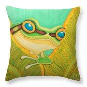Frog Peeking Out Throw Pillow