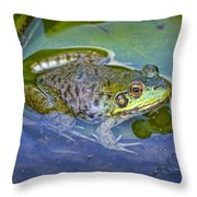 Frog Resting On A Lily Pad Throw Pillow