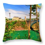 From Usa To Can Over The Rainbow Bridge Throw Pillow