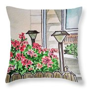Front Yard Lights Sketchbook Project Down My Street Throw Pillow by Irina Sztukowski