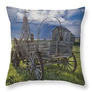 Frontier Farm In 1880 Town Throw Pillow