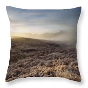 Frosted Fields And Misty Valley Throw Pillow
