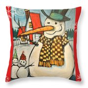 Frosty Family Poster Throw Pillow