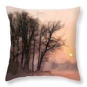 Frosty Morning At The Lake Throw Pillow