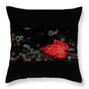 Frozen Red Leaf Throw Pillow