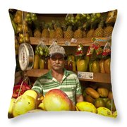 Fruit Market Stand Throw Pillow by Heiko Koehrer-Wagner
