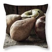 Fruit On A Wooden Stool Throw Pillow