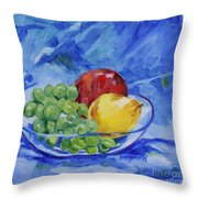 Fruit On Blue Throw Pillow