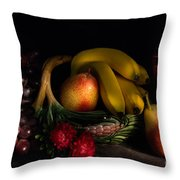 Fruit Still Life With Wine Throw Pillow