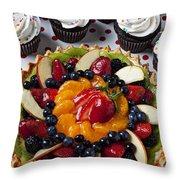 Fruit Tart Pie And Cupcakes  Throw Pillow by Garry Gay