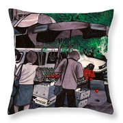 Fruit Vendor Brooklyn Nyc Throw Pillow
