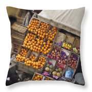 Fruit Vendor In The Kahn Throw Pillow by Mary Machare