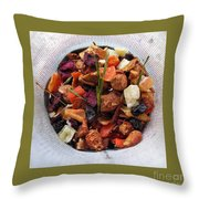 Fruity Tea With Bamboo Leaves Square Throw Pillow