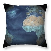 Full Earth Showing Evaporation Throw Pillow