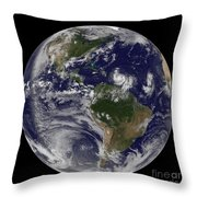 Full Earth Showing Two Tropical Storms Throw Pillow