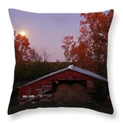 Full Moon And Barn Throw Pillow