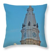 Full Moon And Billy Penn Throw Pillow