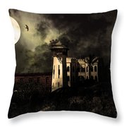 Full Moon Over Hard Time - San Quentin California State Prison - 7d18546 - Partial Sepia Throw Pillow