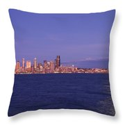 Full Moon Over Seattle Throw Pillow