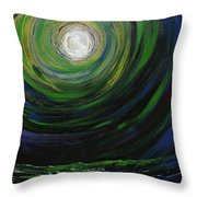 Full Moon Over The Sea Throw Pillow