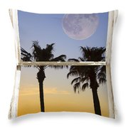 Full Moon Palm Tree Picture Window Sunset Throw Pillow