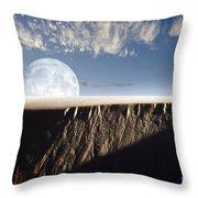 Full Moon Rising Above A Sand Dune Throw Pillow