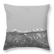 Full Moon Setting Over The Co Rocky Mountains Bw Throw Pillow