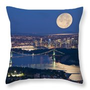 Full Moonrise Over Vancouver, British Throw Pillow