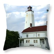 Full View Of Sandy Hook Lighthouse Throw Pillow