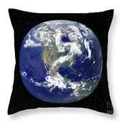 Fully Lit Earth Centered On North Throw Pillow