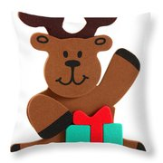 Fun Reindeer Sitting Throw Pillow