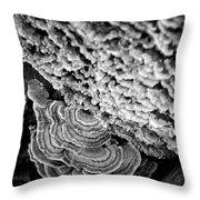 Fungi Black And White Throw Pillow