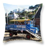 Funky Ferry Landing Vehicle Throw Pillow