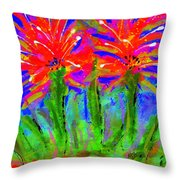 Funky Flower Towers Throw Pillow