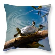 Funny Turtle Catching Some Rays Throw Pillow