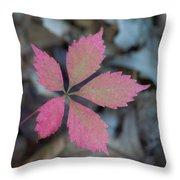 Fushia Leaf 2 Throw Pillow