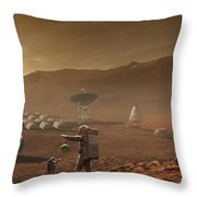 Future Mars Colonists Playing Throw Pillow