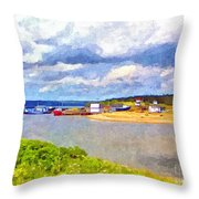 Gabarus Cape Breton Nova Scotia Fishing Village Throw Pillow