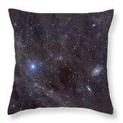 Galaxies M81 And M82 As Seen Throw Pillow by John Davis