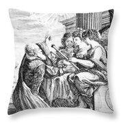 Galileo With Telescope Pointing To Sky Throw Pillow