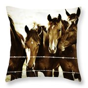 Galloping Brothers  Throw Pillow
