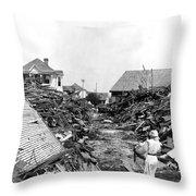 Galveston Flood Debris - September - 1900 Throw Pillow by International  Images
