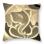 Ganesha In Sepia Hues Throw Pillow