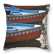 Ganges River, Varanasi, India Moored Throw Pillow