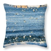 Gannets In Flight And Perce Rock Throw Pillow