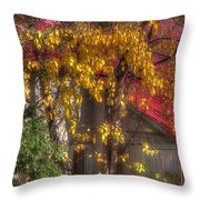 Garage And Leaves Throw Pillow