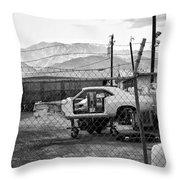 Garage Days Bw Throw Pillow