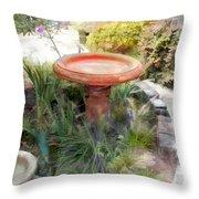 Garden Birdbath Throw Pillow
